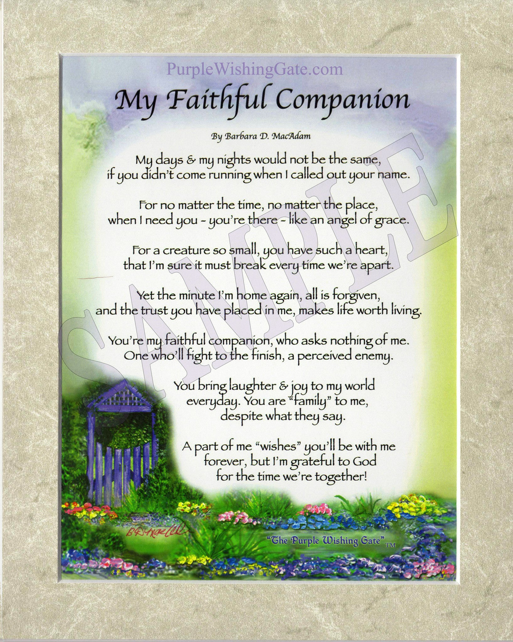 My Faithful Companion (8x10) - 8x10 Custom Matted Clearance - PurpleWishingGate.com