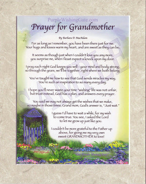 Prayer for Grandmother (8x10) - 8x10 Custom Matted Clearance - PurpleWishingGate.com