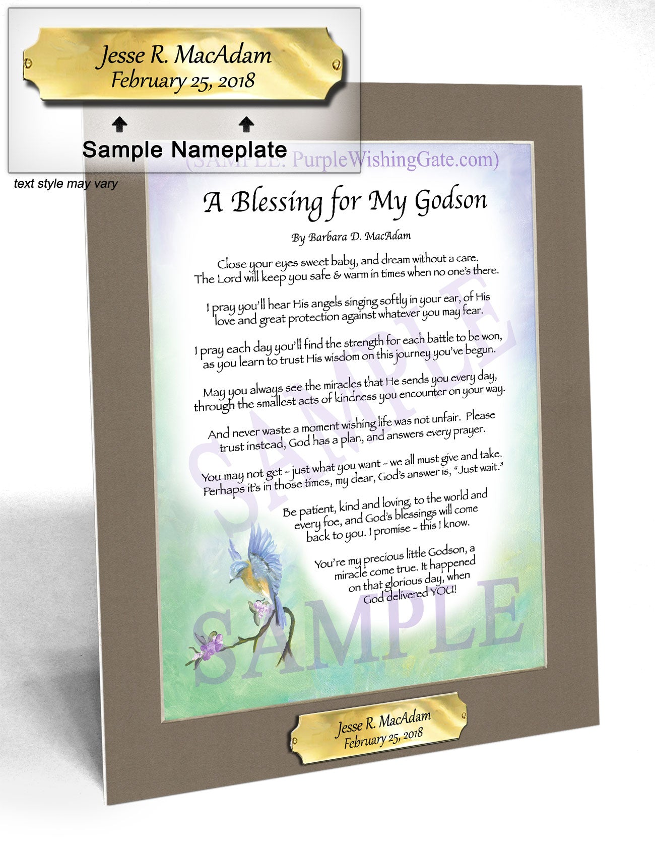 A Blessing for My Godson (baby) - Baby Gift - PurpleWishingGate.com
