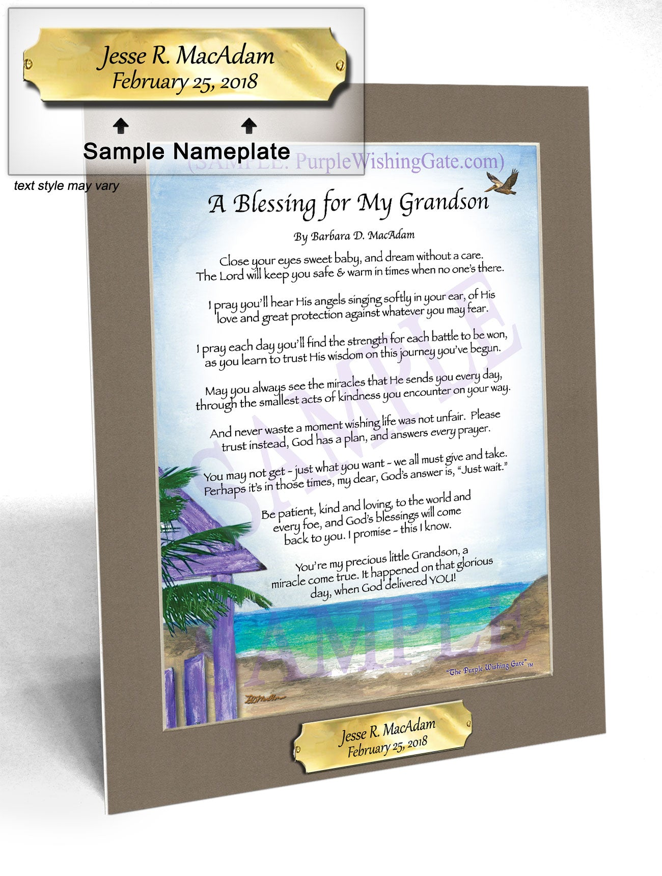 A Blessing for My Grandson (baby) - Baby Gift - PurpleWishingGate.com