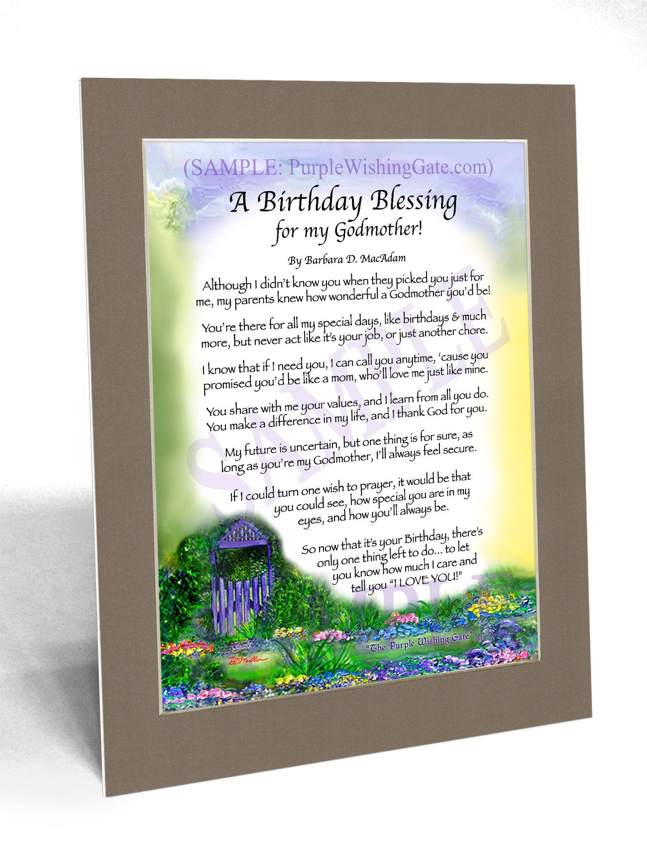 Godmother\'s Birthday Gift: Personalized, Framed Blessing ...