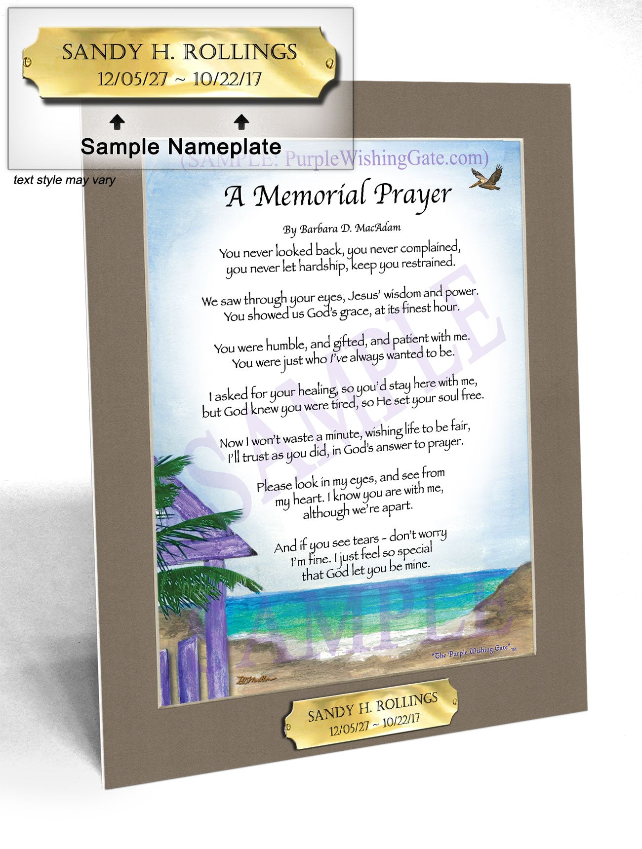 A Memorial Prayer - Memorial Gift - PurpleWishingGate.com