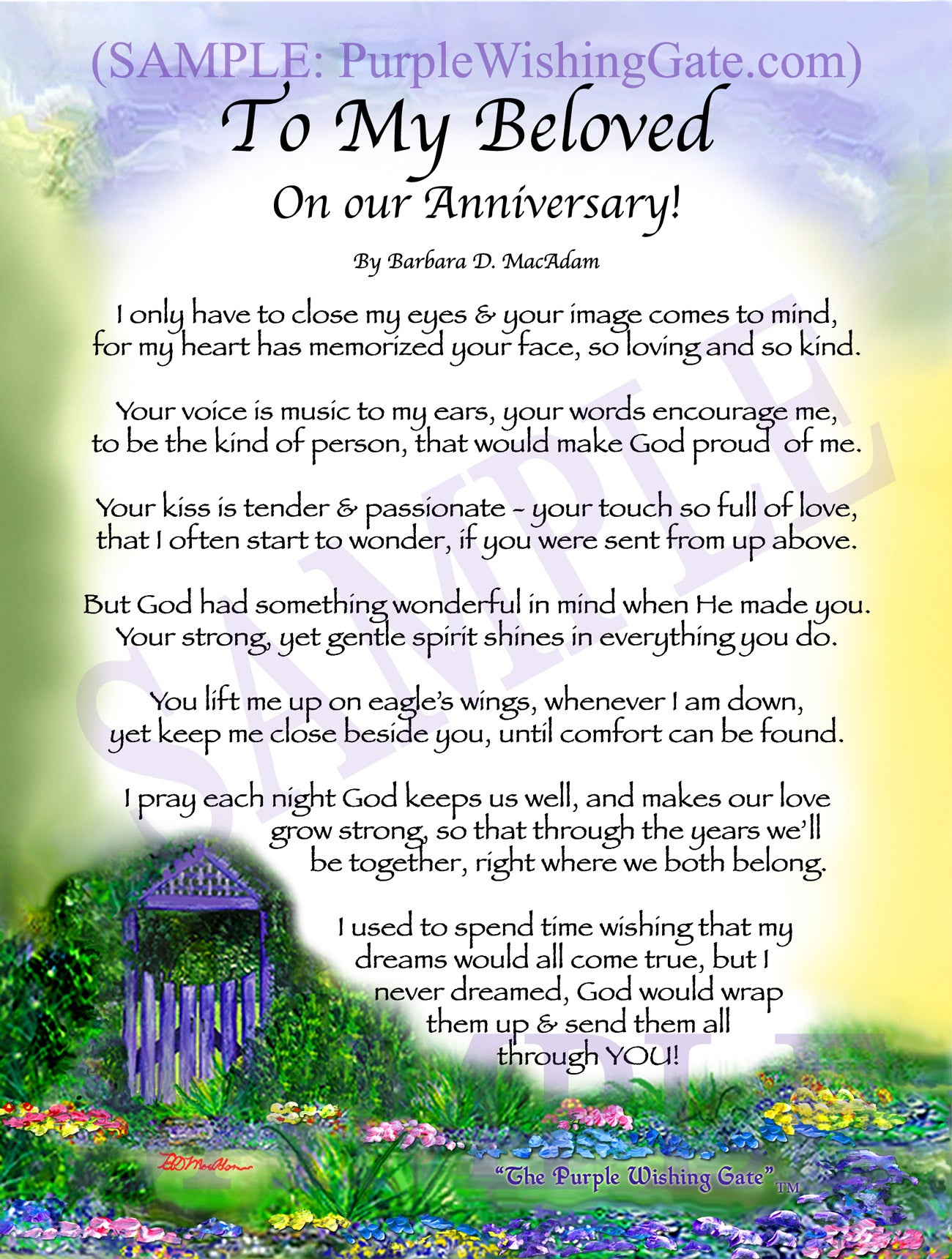 To My Beloved On our Anniversary! - Anniversary Gift - PurpleWishingGate.com