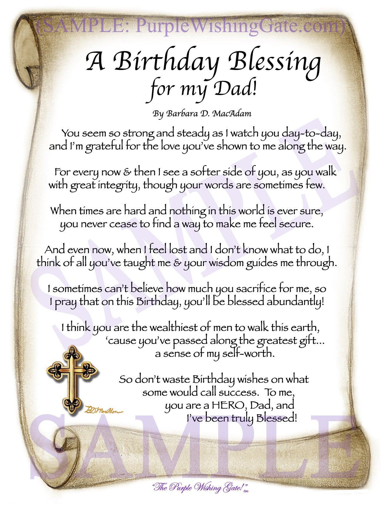 A Birthday Gift For Dad Personalized Framed Blessing