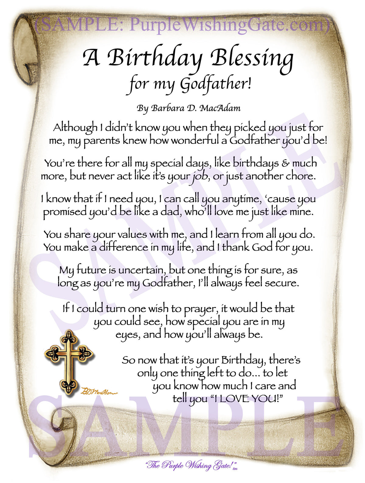 Birthday Gift For Godfather Personalized Blessing Purplewishinggate