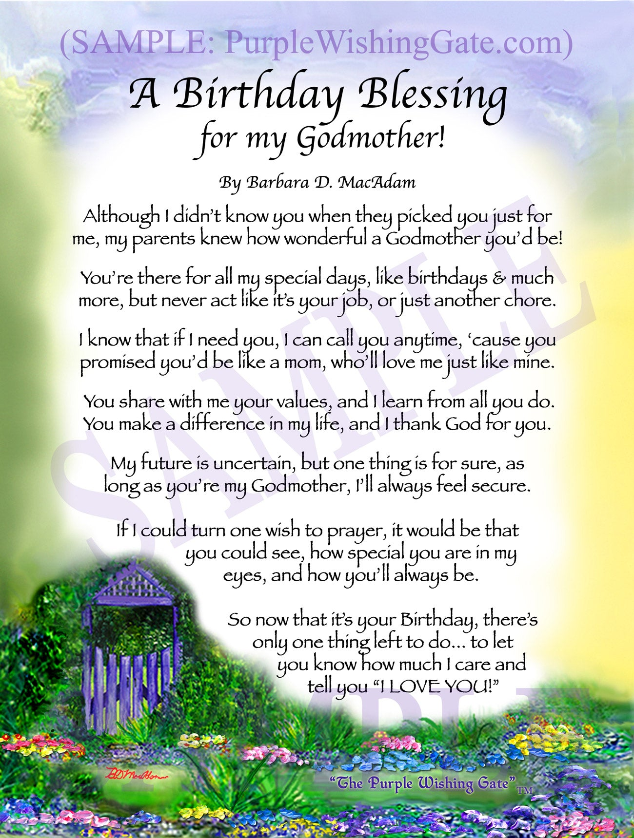 Godmothers Birthday Gift Personalized Framed Blessing