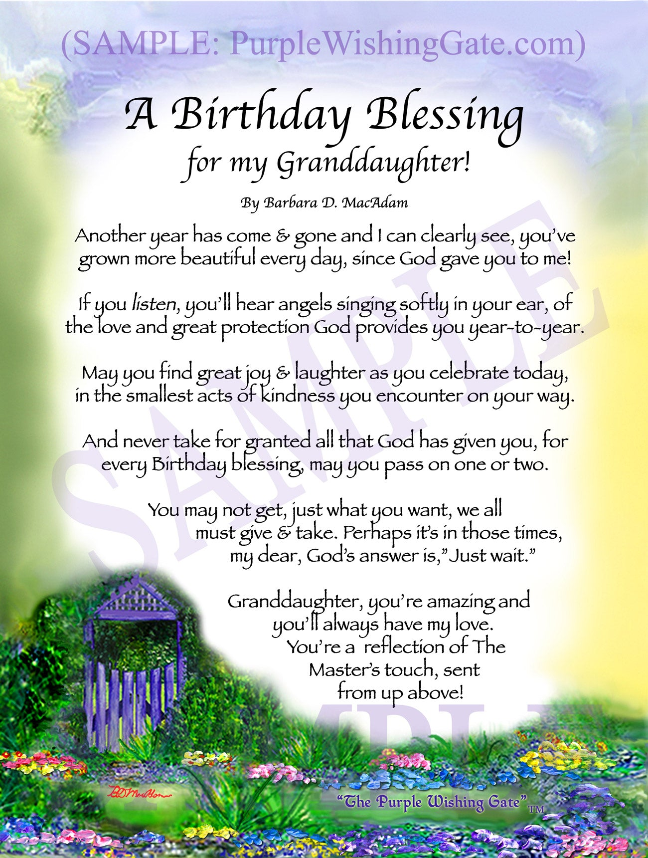 A Birthday Blessing for my Granddaughter! - Birthday Gift - PurpleWishingGate.com