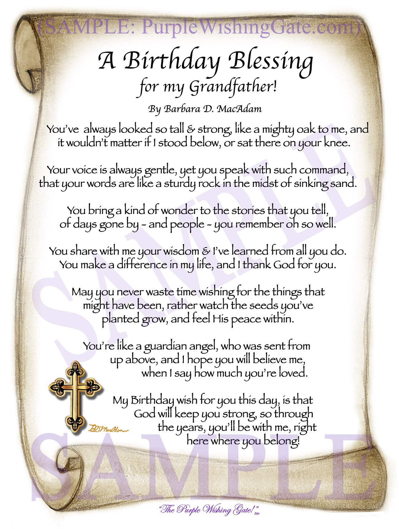 Fine Grandfather Birthday Gift Personalized Blessing Purplewishinggate Funny Birthday Cards Online Alyptdamsfinfo
