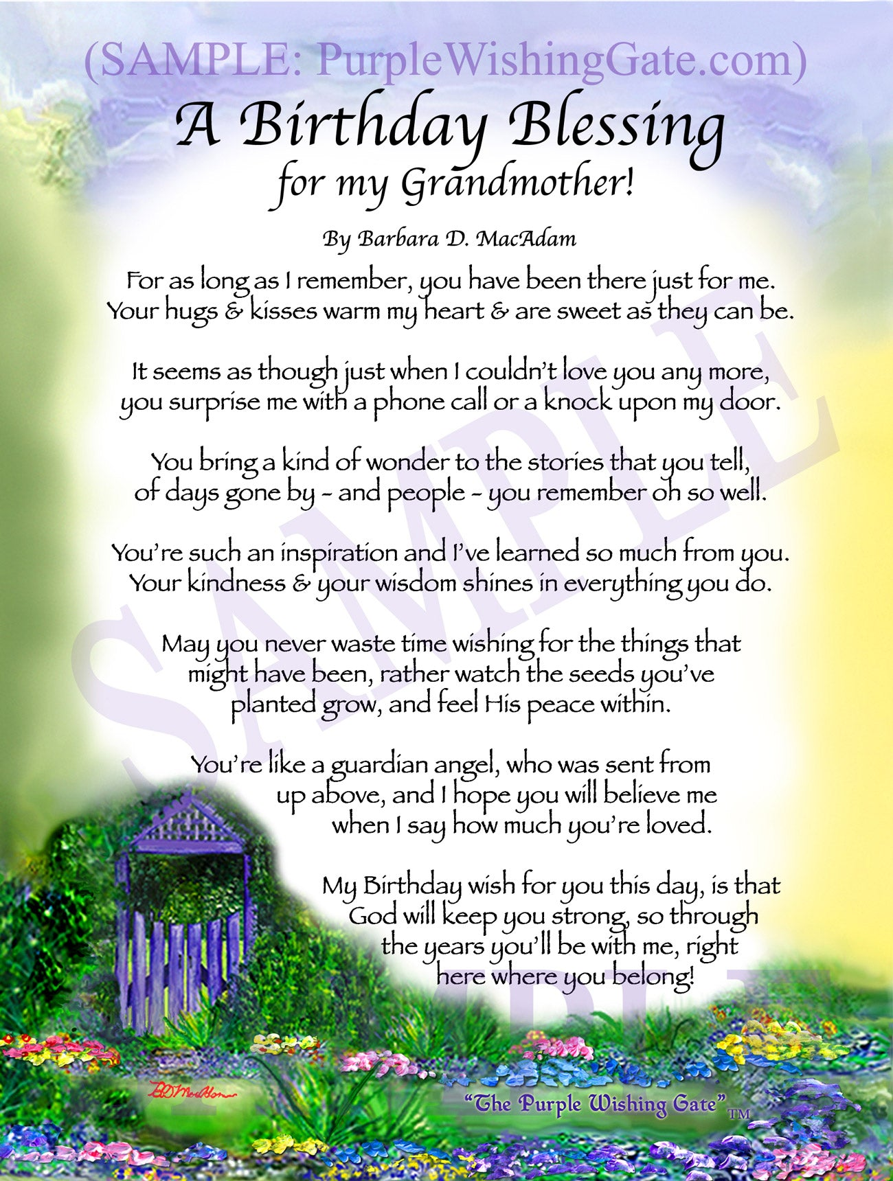 A Birthday Blessing for my Grandmother! - Birthday Gift - PurpleWishingGate.com
