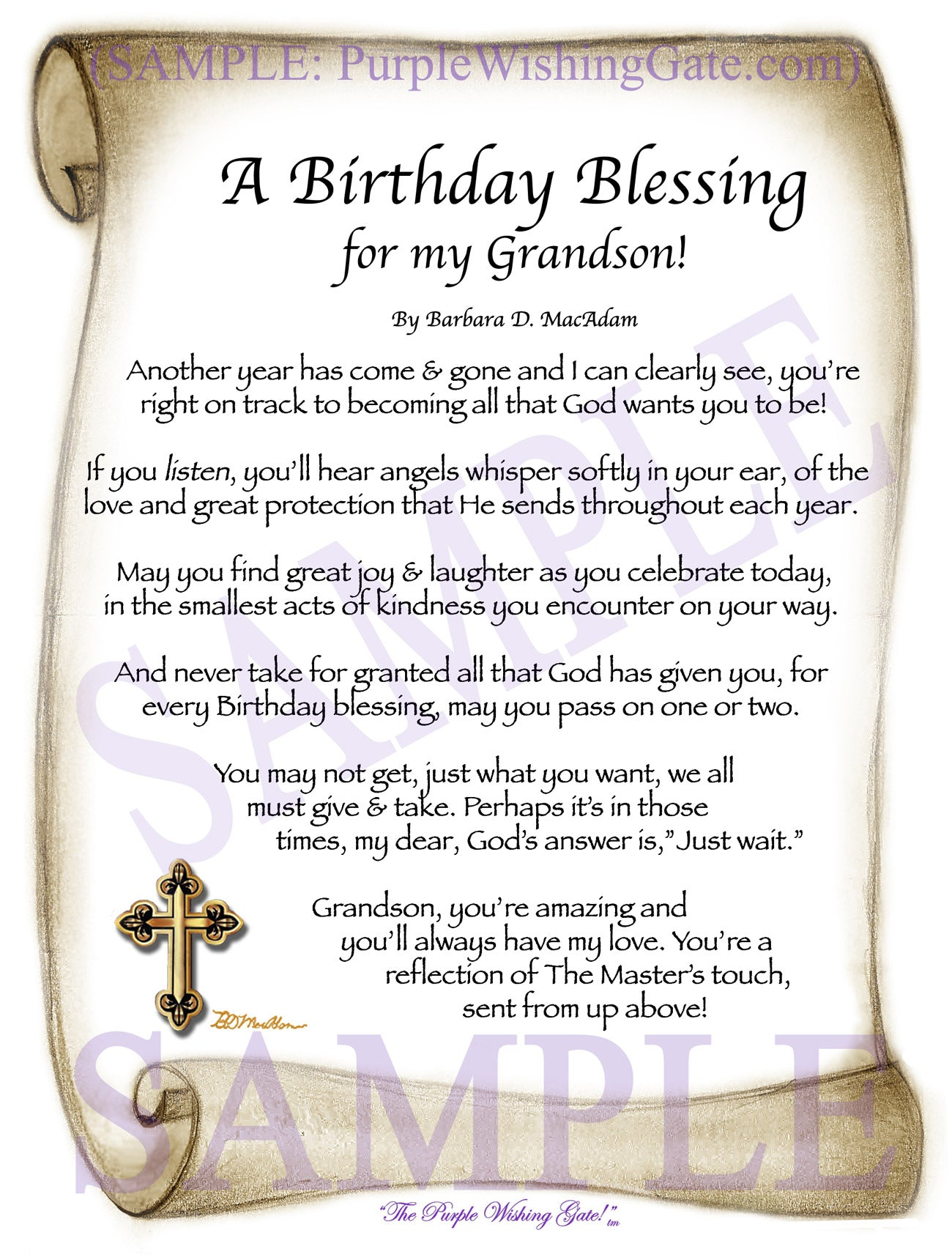 a birthday blessing for my grandson birthday gift purplewishinggatecom
