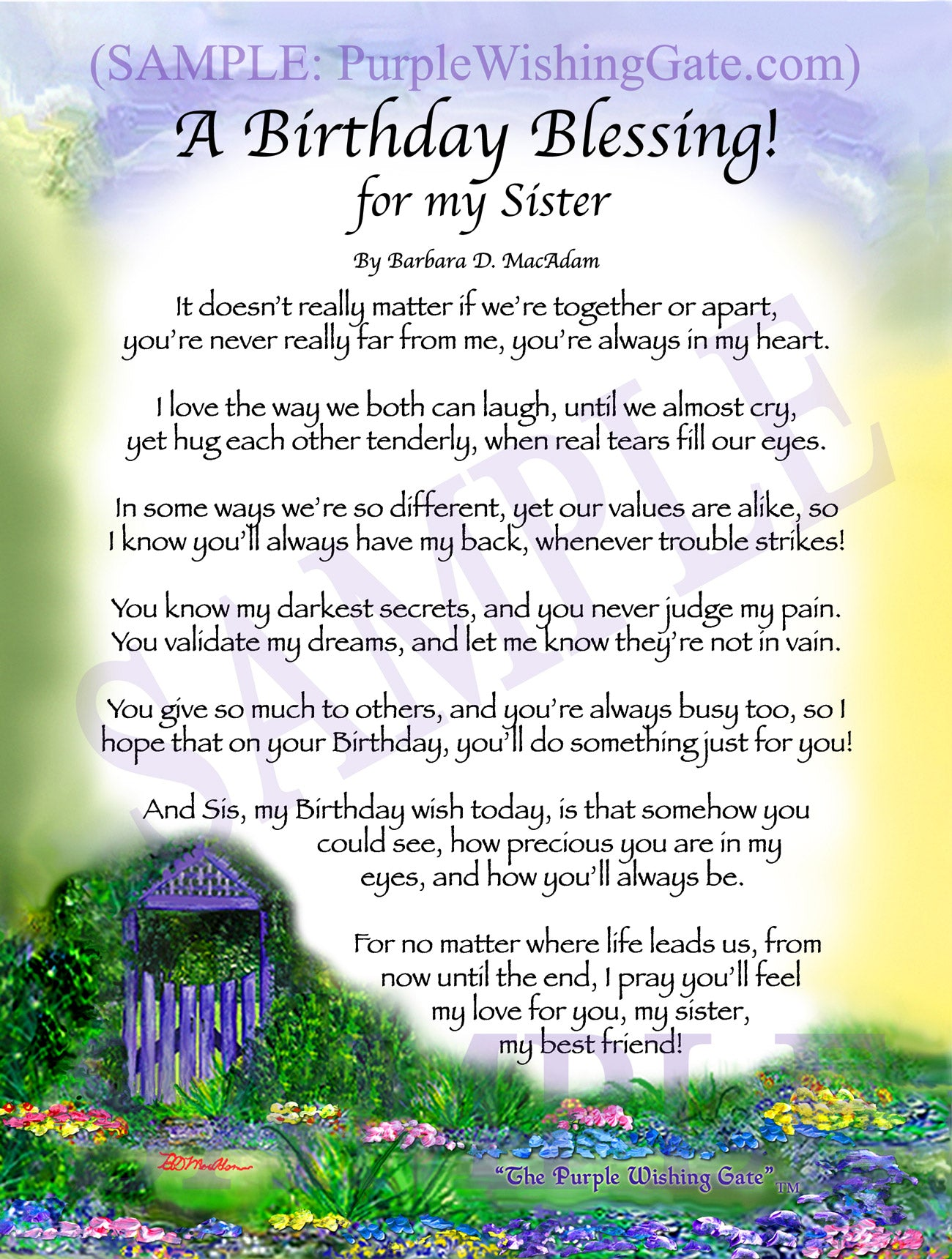 A Birthday Blessing For My Sister Personalized Framed Gift