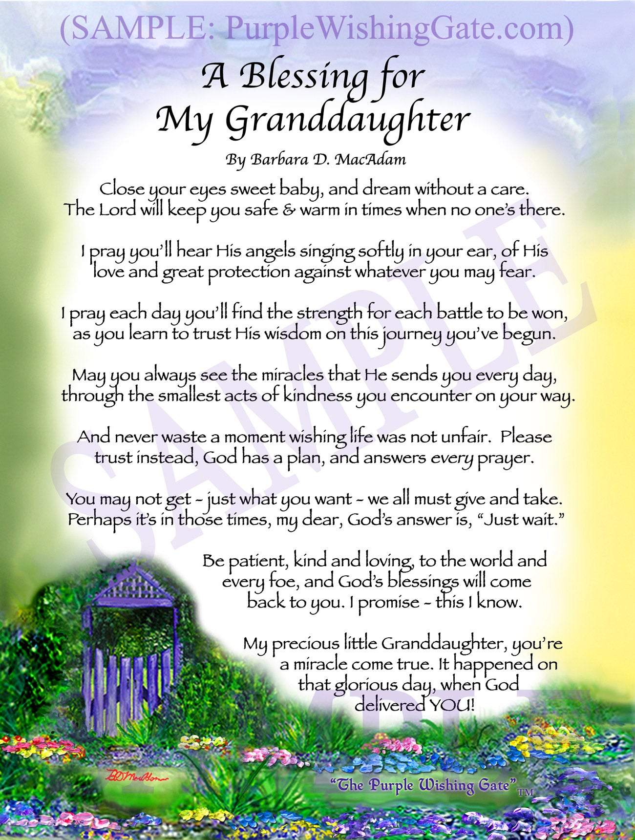 A Blessing for My Granddaughter (baby) - Baby Gift - PurpleWishingGate.com