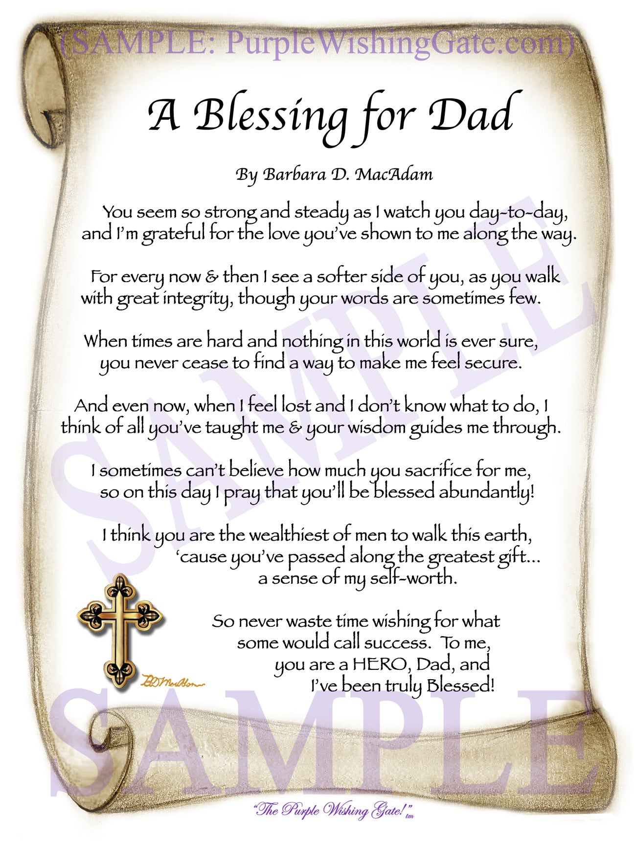 A Blessing for Dad - Gifts for Dad-Father - PurpleWishingGate.com