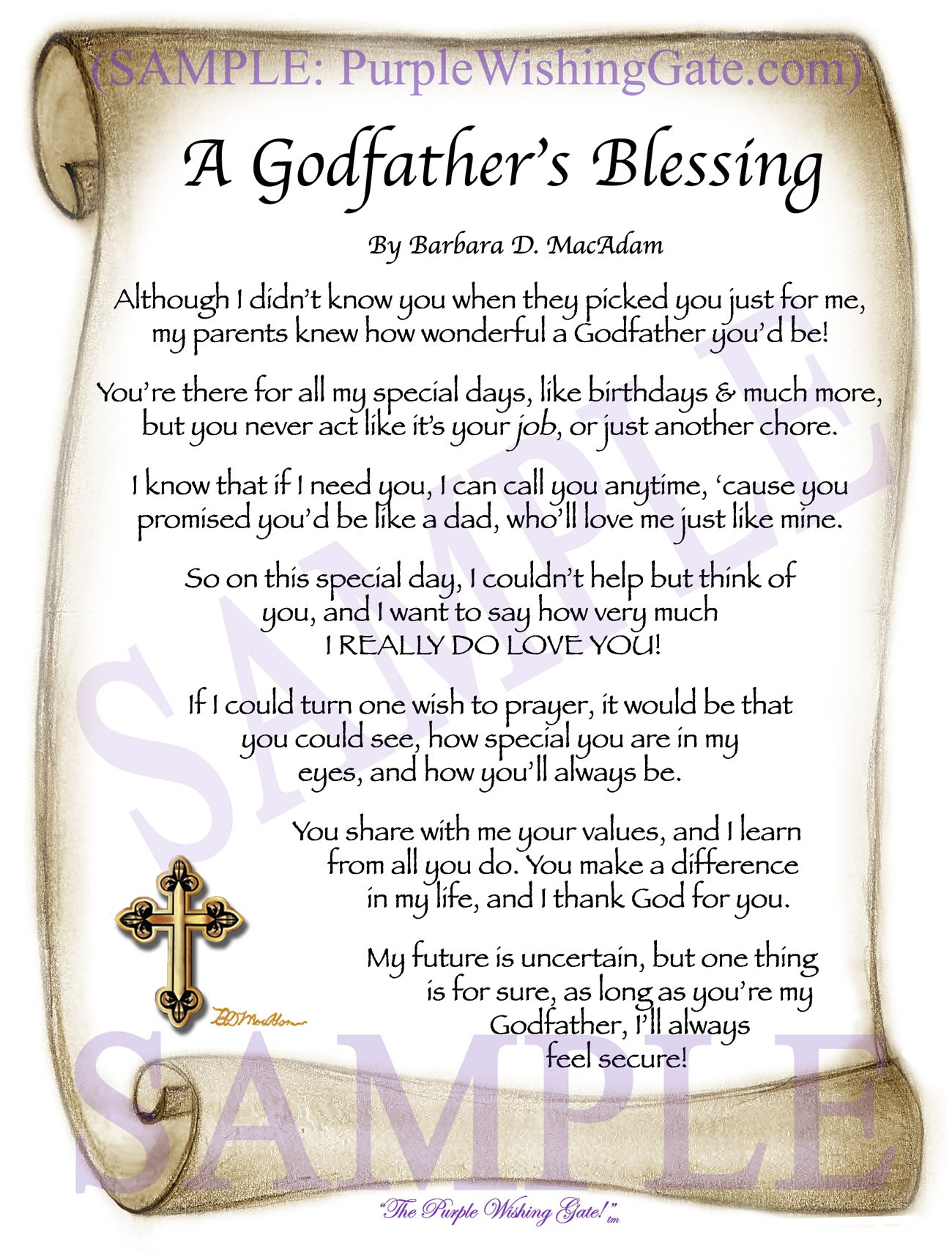 A Godfather's Blessing - Godfather's Gift - PurpleWishingGate.com