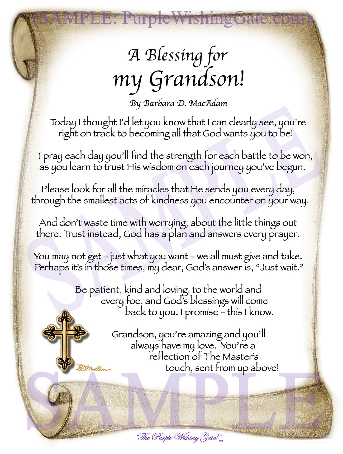 A Blessing for My Grandson! (child-adult) - Gifts for Grandson - PurpleWishingGate.com