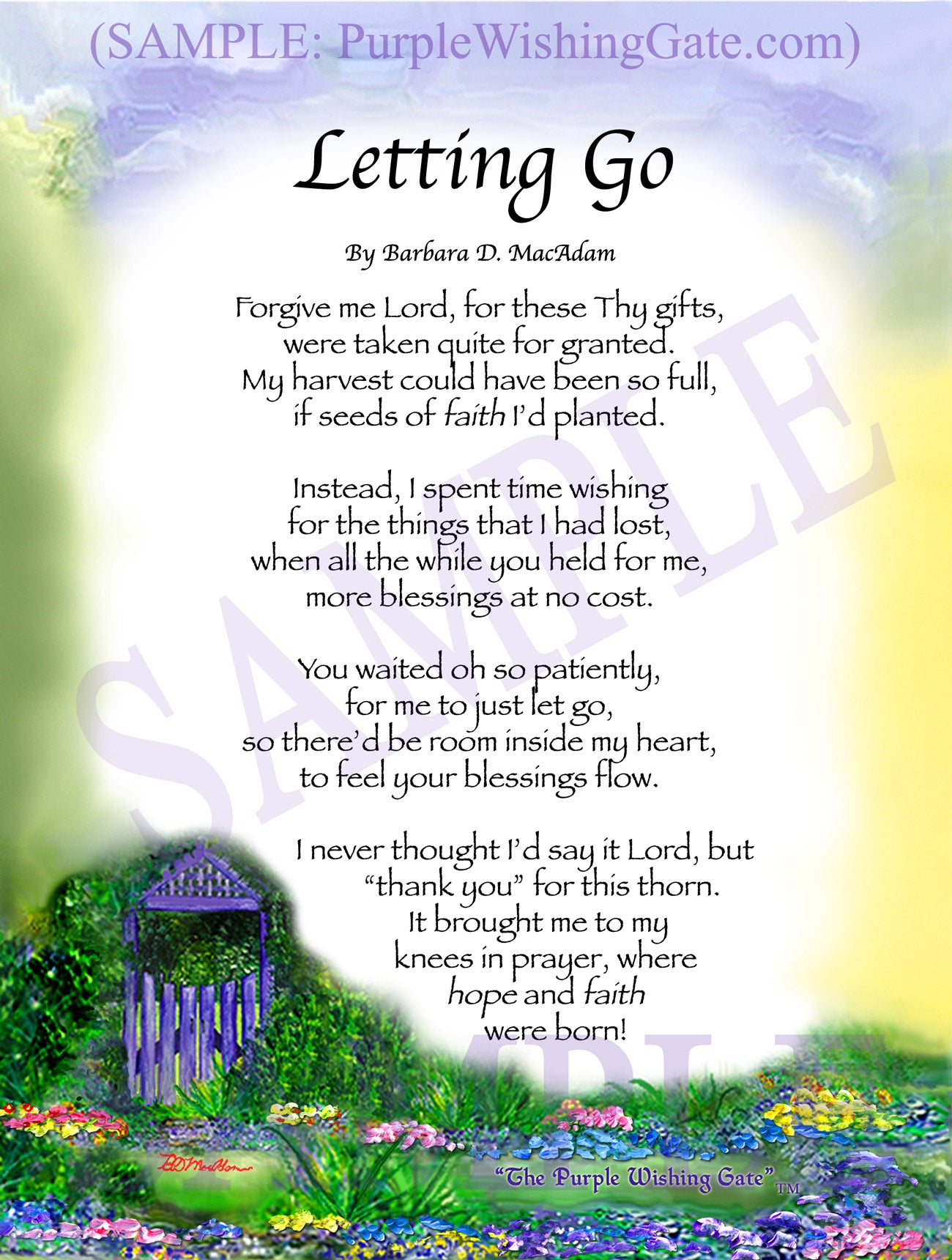 Letting Go - Encouragement Gift - PurpleWishingGate.com