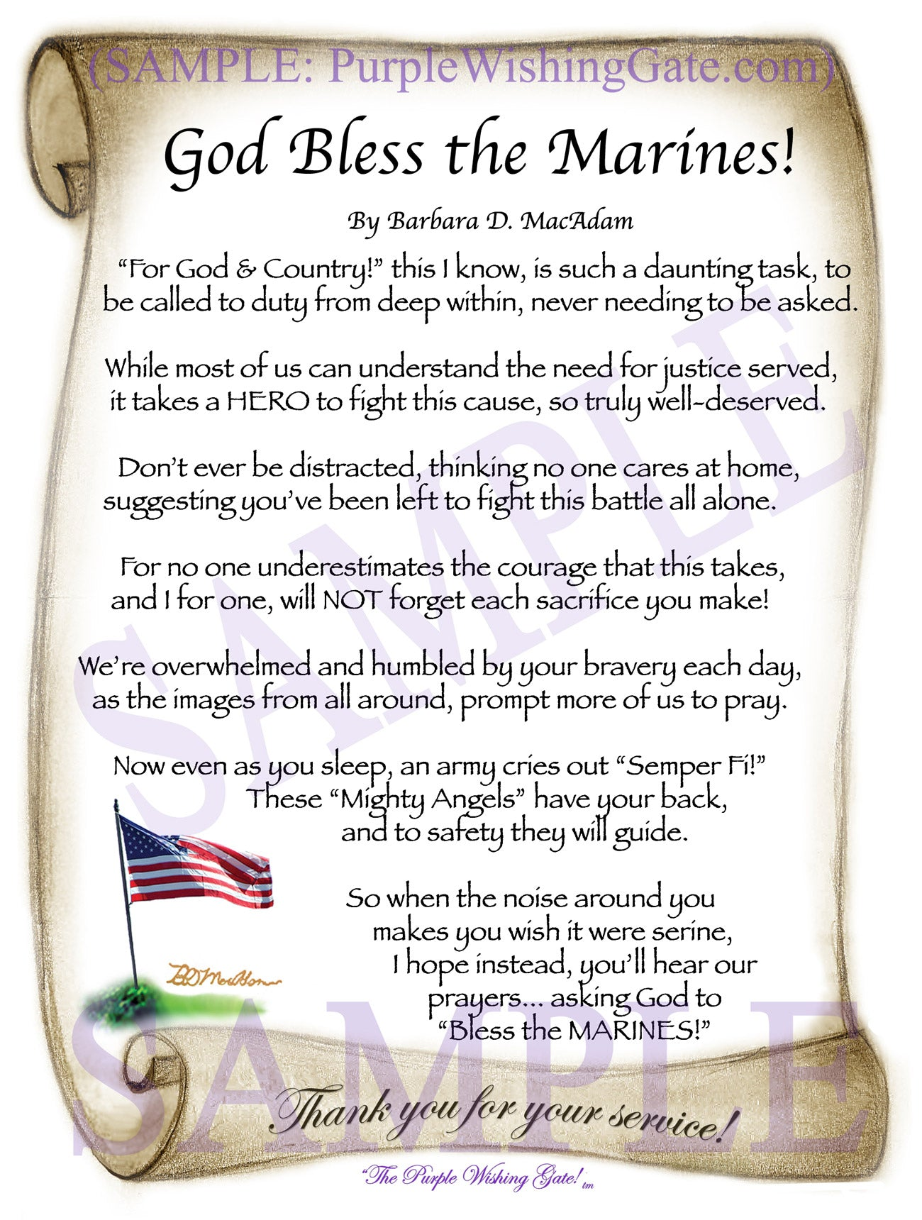 God Bless the Marines! - Military Gift - PurpleWishingGate.com