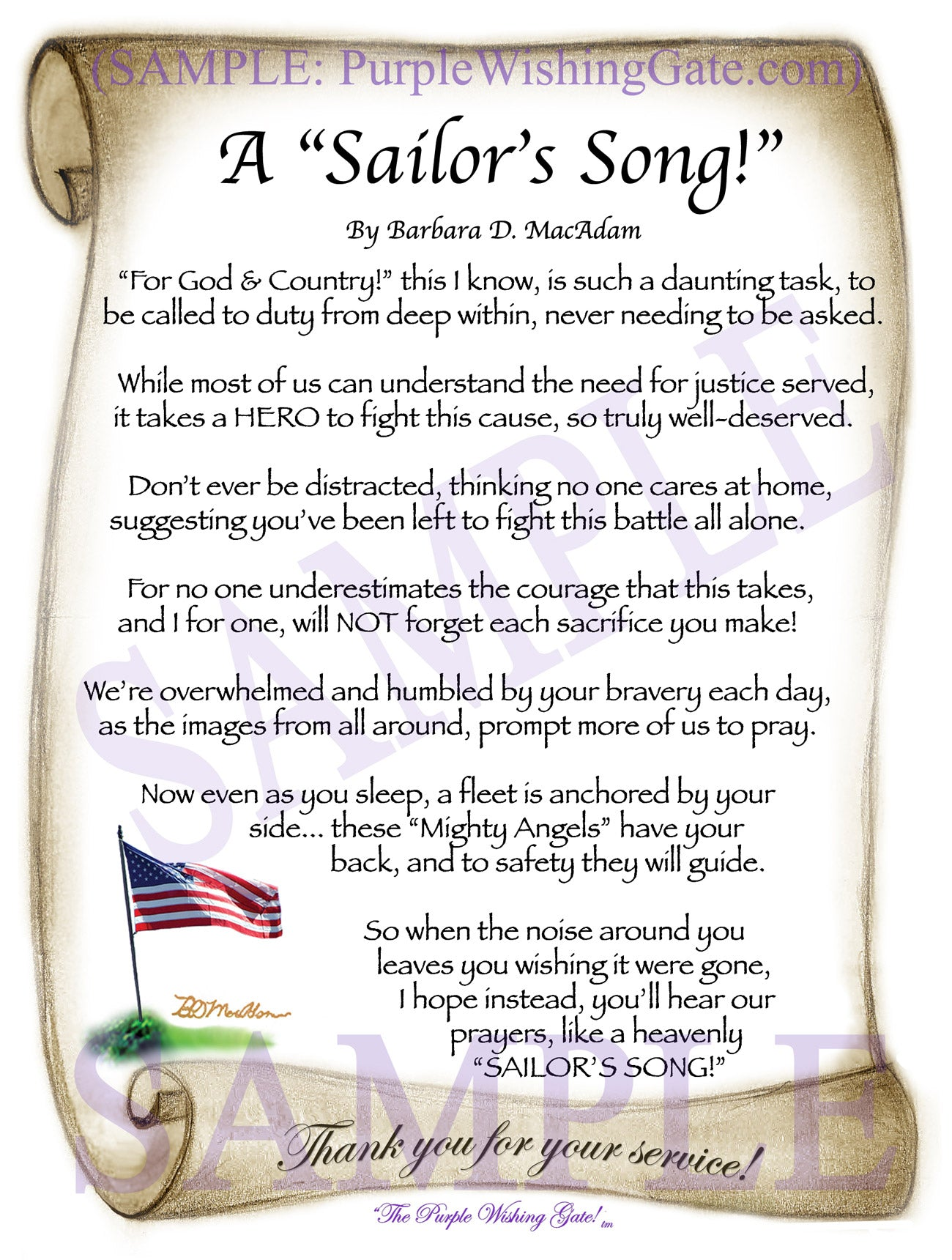 A Sailor's Song! - Military Gift - PurpleWishingGate.com