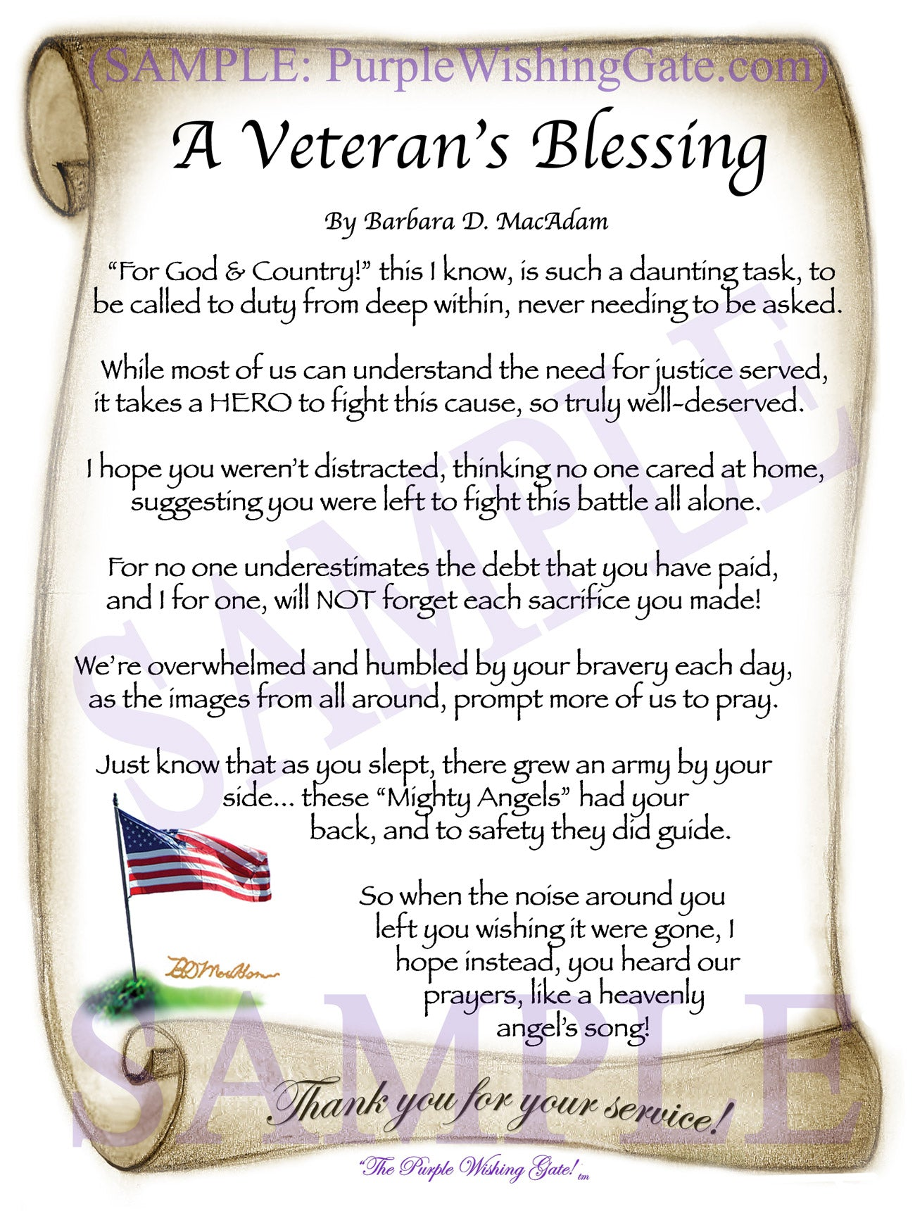 A Veteran's Blessing - Military Gift - PurpleWishingGate.com
