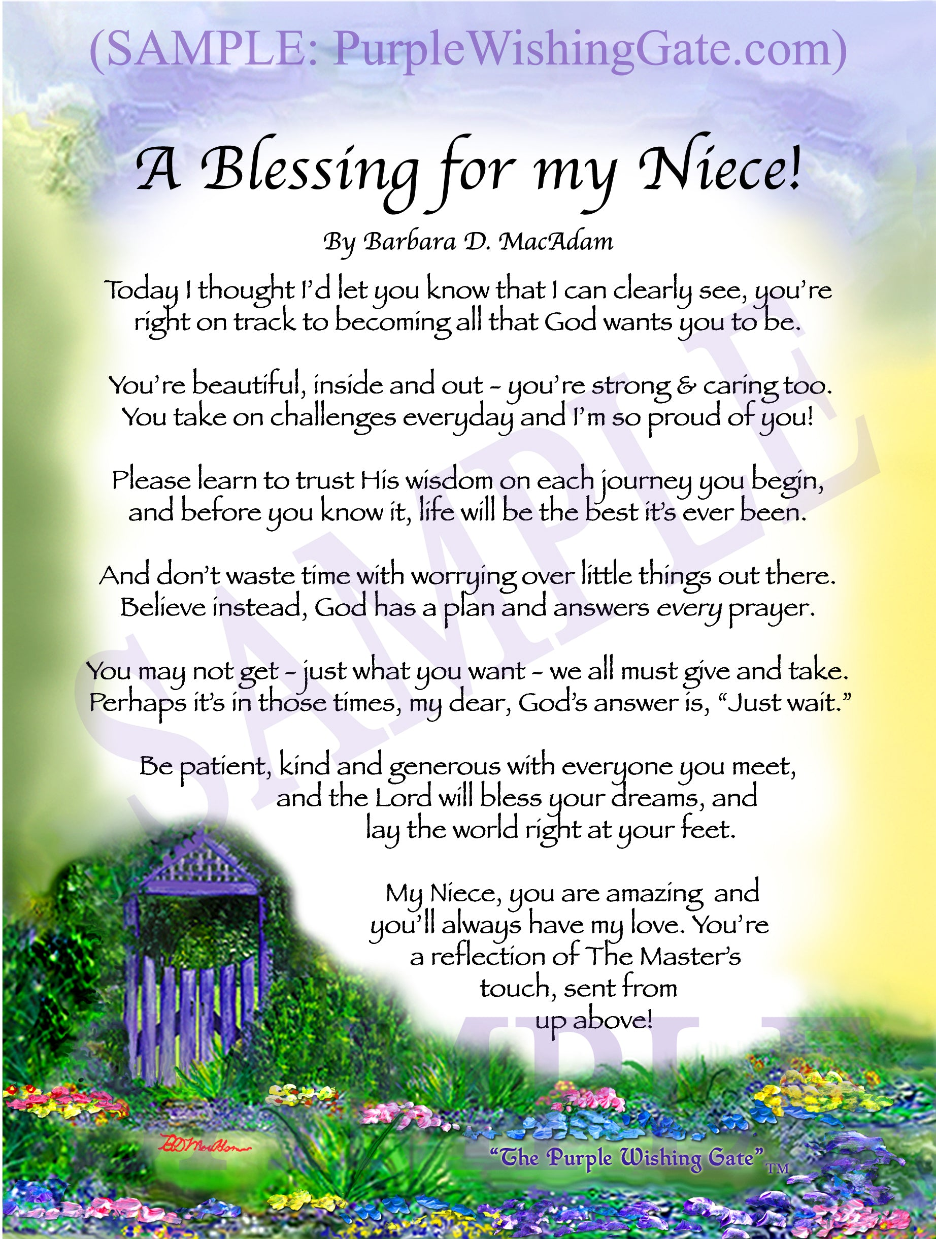 A Blessing for my Niece! (child-adult) - Gifts for Niece - PurpleWishingGate.com