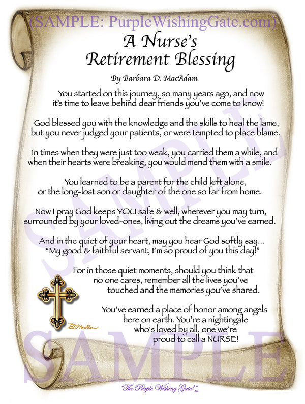 Retirement Blessing Gift for Sale | PurpleWishingGate.com ...