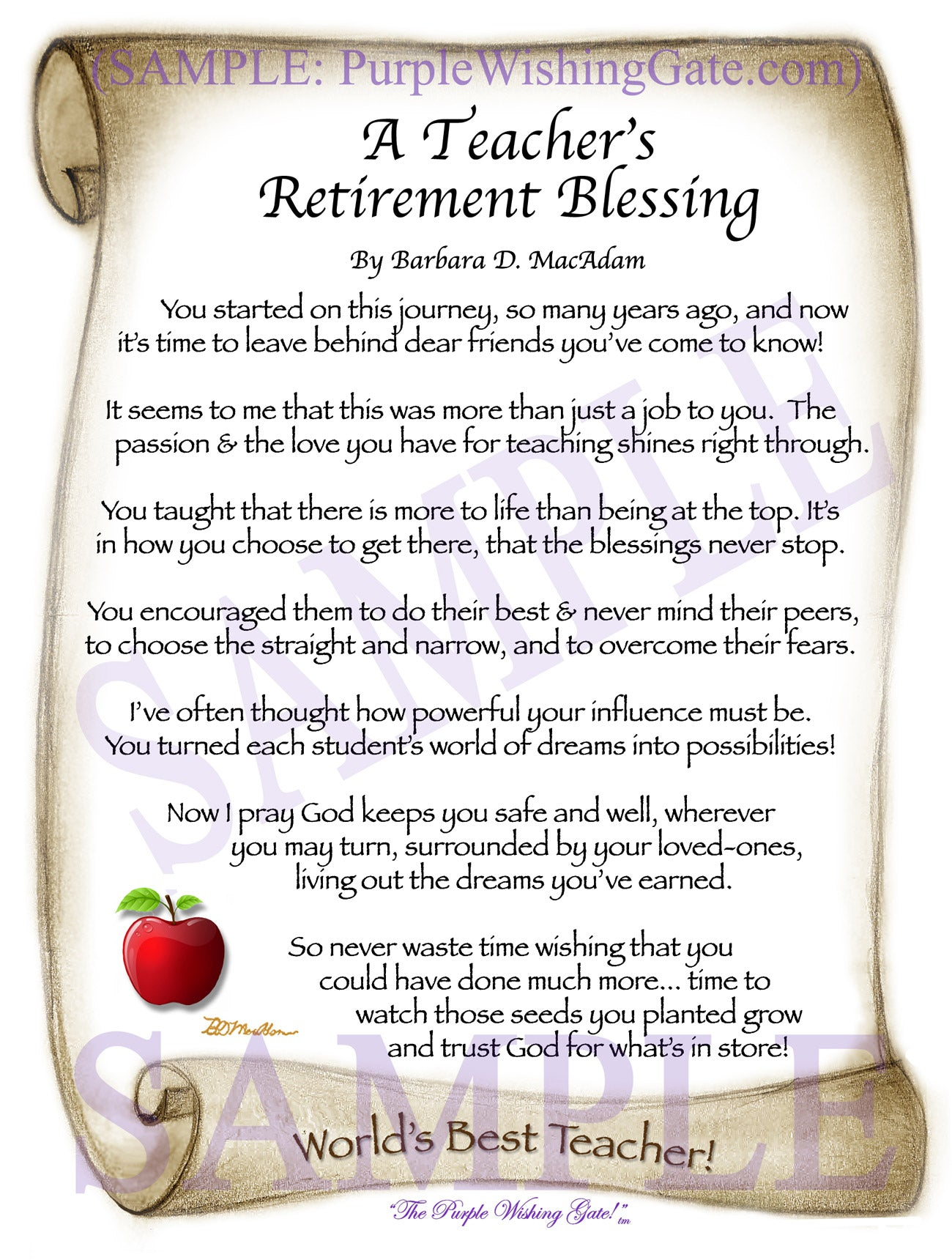 A Teacher's Retirement Blessing - Retirement Gift - PurpleWishingGate.com