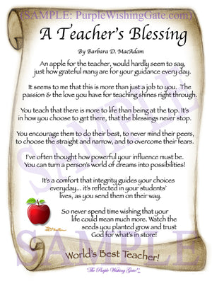 A Teacher's Blessing - Teacher's Gift - PurpleWishingGate.com