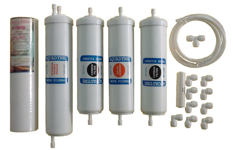 Complete RO Service Filter Kit for Aquaguard/Kent/Nasaka RO Water Purifiers (Includes extra RO Pipe and Flow Restrictor)