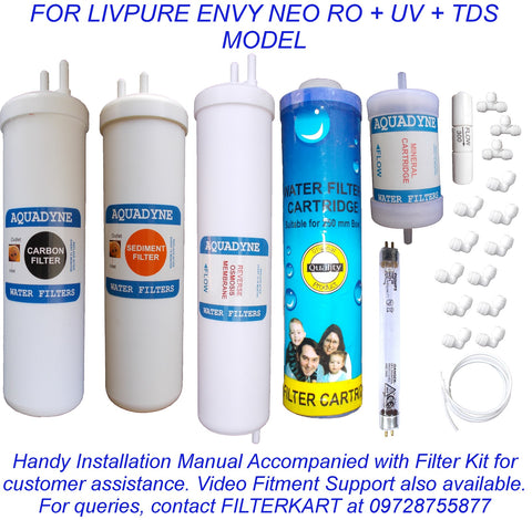 RO Service Kit for Luminous Livpure Envy Neo RO UV TDS with Installation guide and Youtube video installation support, 1- Piece, White
