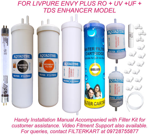 RO Service Kit for Luminous Livpure Envy Plus RO UV UF TDS with Installation guide and Youtube video installation support, 1- Piece, White