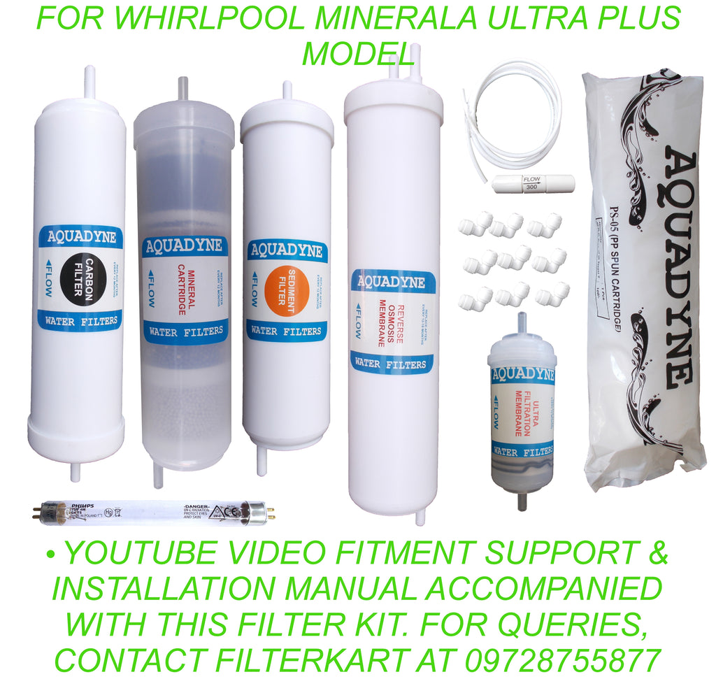 RO Service Kit for Whirlpool Minerala Ultra Plus Model with Installation guide and Youtube video installation support, 1- Piece, White