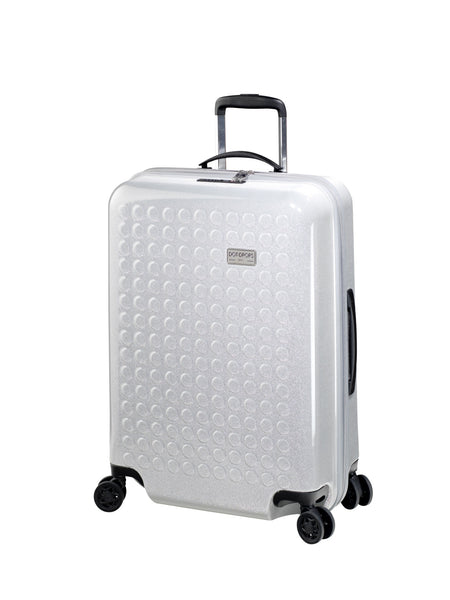 "HARDSIDE 4-WHEELS SUITCASE GLITTER SILVER (24"" UPRIGHT) 34125PC"