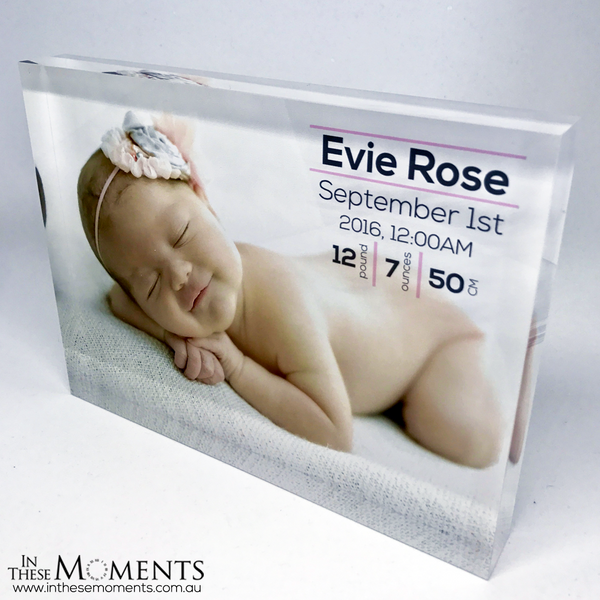 Newborn baby details on acrylic photo block