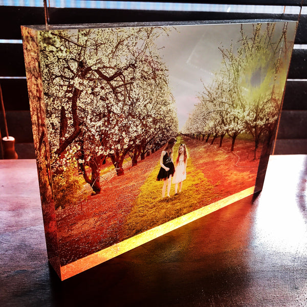 Light shining through Acrylic photo block