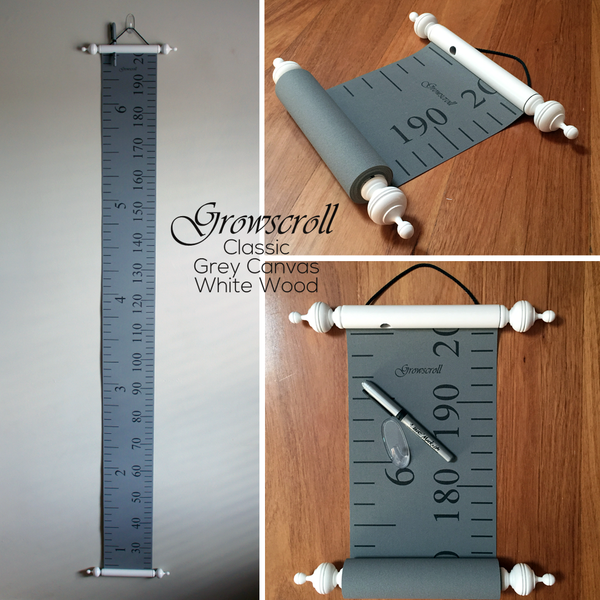 Growscroll Growth Chart Grey Canvas White Wood