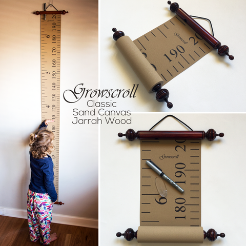 Growscroll Growth Chart Sand Canvas Jarrah Wood