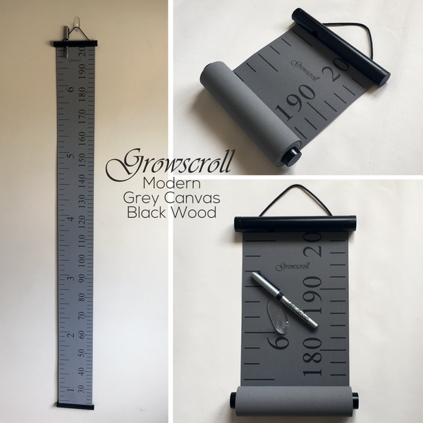 Growscroll Growth Chart Modern Grey Canvas Black Wood