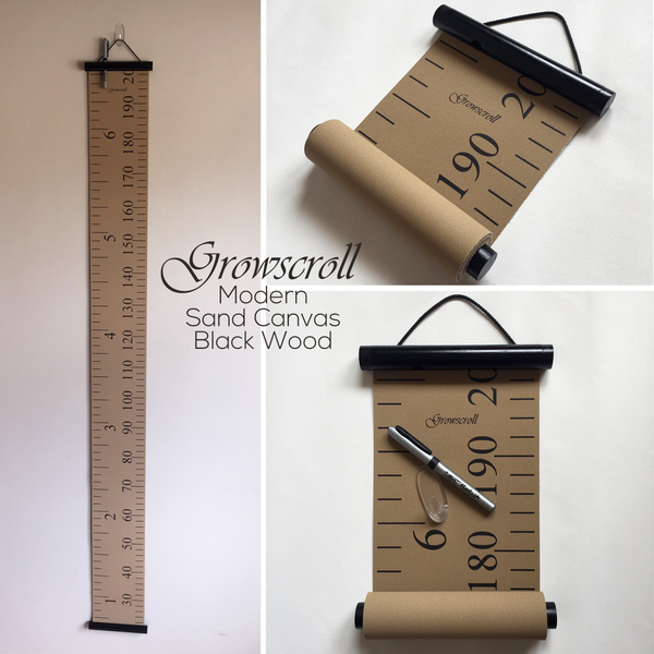 Growscroll Growth Chart Modern Sand Canvas Black Wood