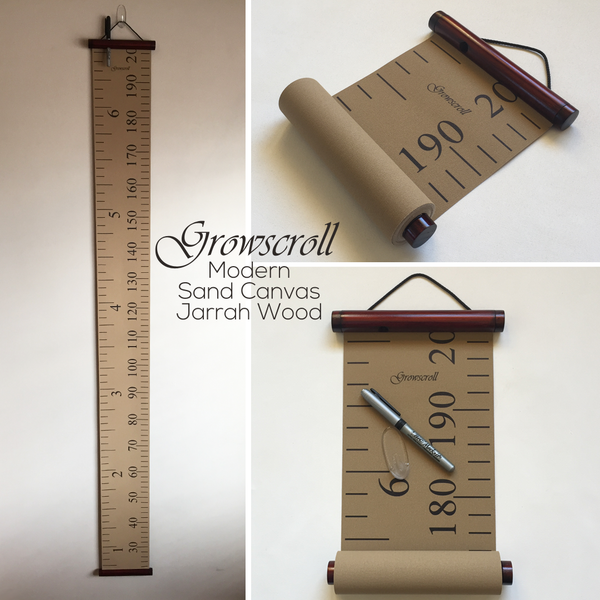 Growscroll Growth Chart Modern Sand Canvas Jarrah Wood