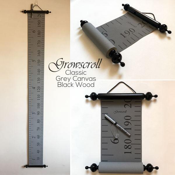 Growscroll Growth Chart Grey Canvas Black Wood