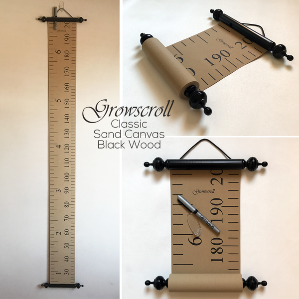 Growscroll Growth Chart Sand Canvas Black Wood