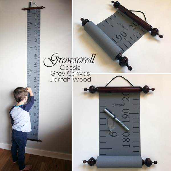 Growscroll Growth Chart Grey Canvas Jarrah Wood