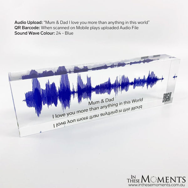 Acrylic Sound Wave Block Personalised Blue