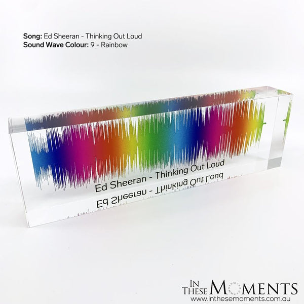 Acrylic Sound Wave Block Personalised Rainbow