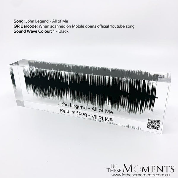Acrylic Sound Wave Block Personalised Black