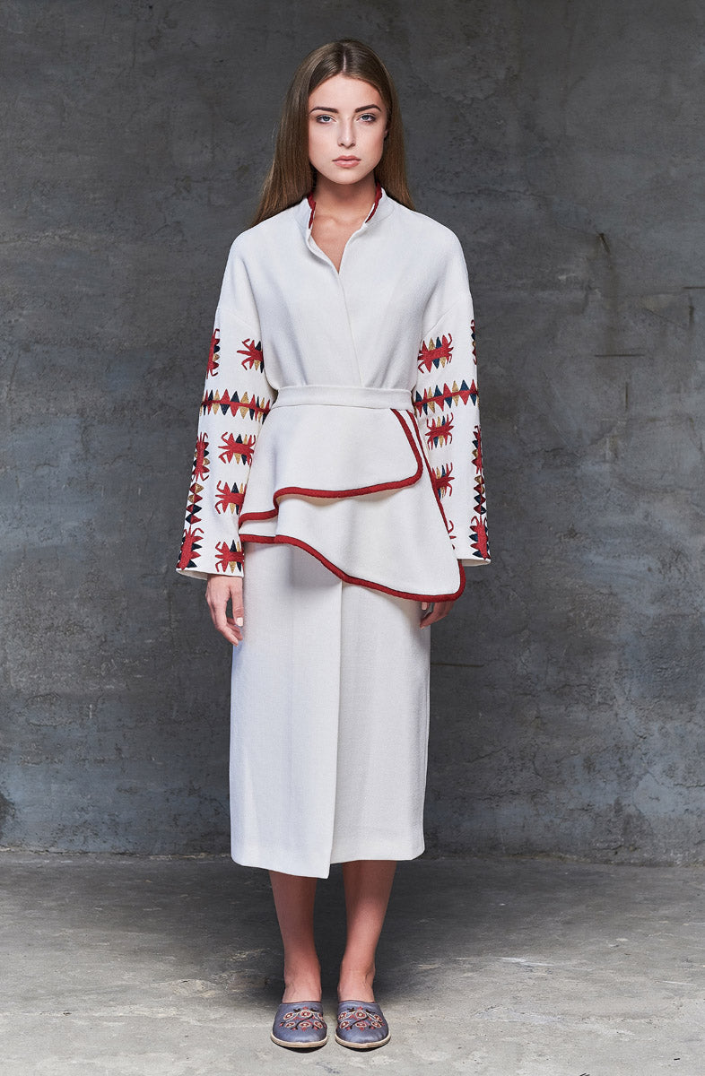 White Coat with Basque and Handmade Embroidery