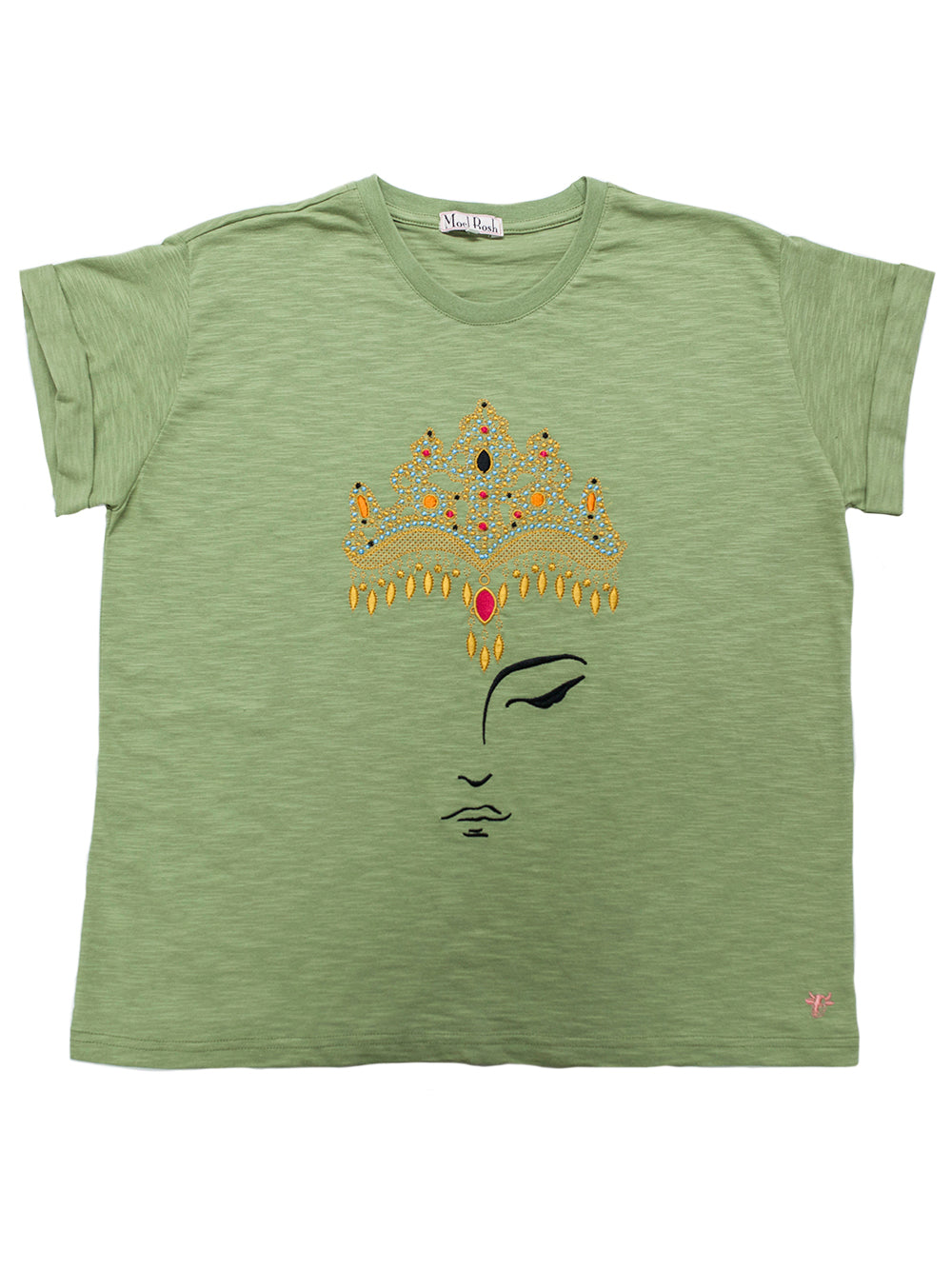 T-shirt with Crown Machine Embroidery