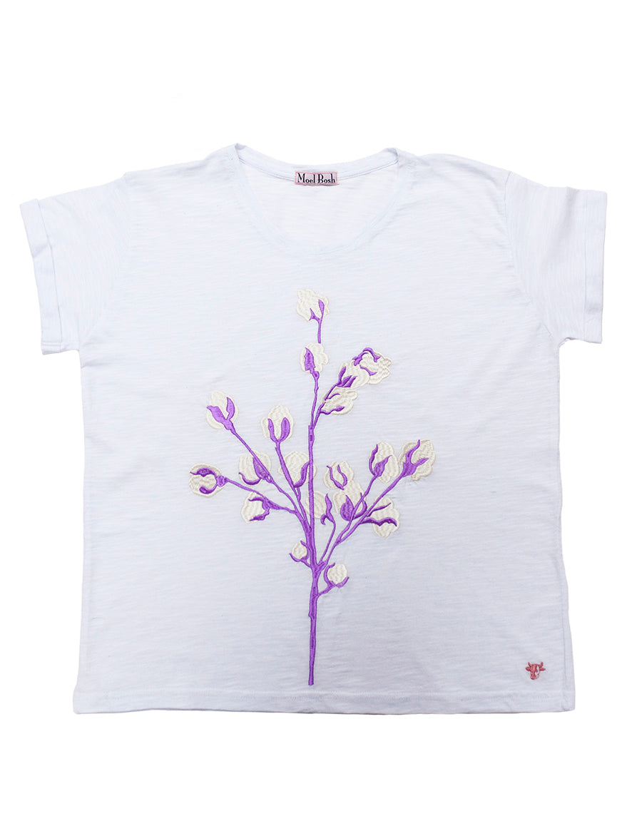 T-shirt with Cotton Machine Embroidery purple