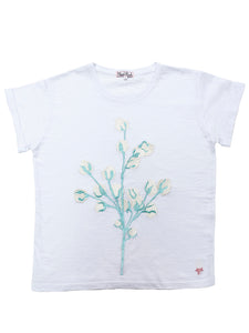 T-shirt with Cotton Machine Embroidery marine blue