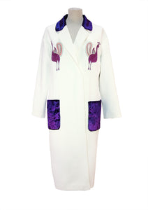 Wool coat with hand embroidery